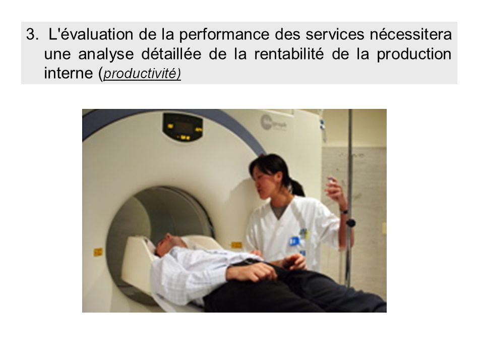 3. L'évaluation de la performance des services nécessitera une analyse détaillée de la rentabilité de la production interne ( productivité)