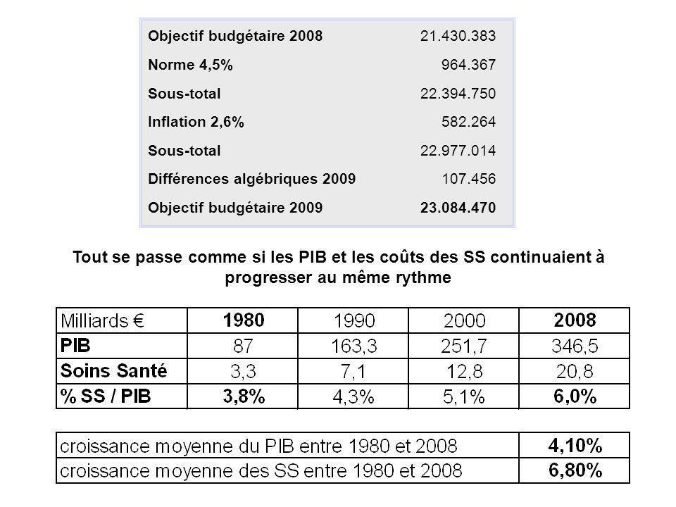 Objectif budgétaire 200821.430.383 Norme 4,5%964.367 Sous-total22.394.750 Inflation 2,6%582.264 Sous-total22.977.014 Différences algébriques 2009107.4