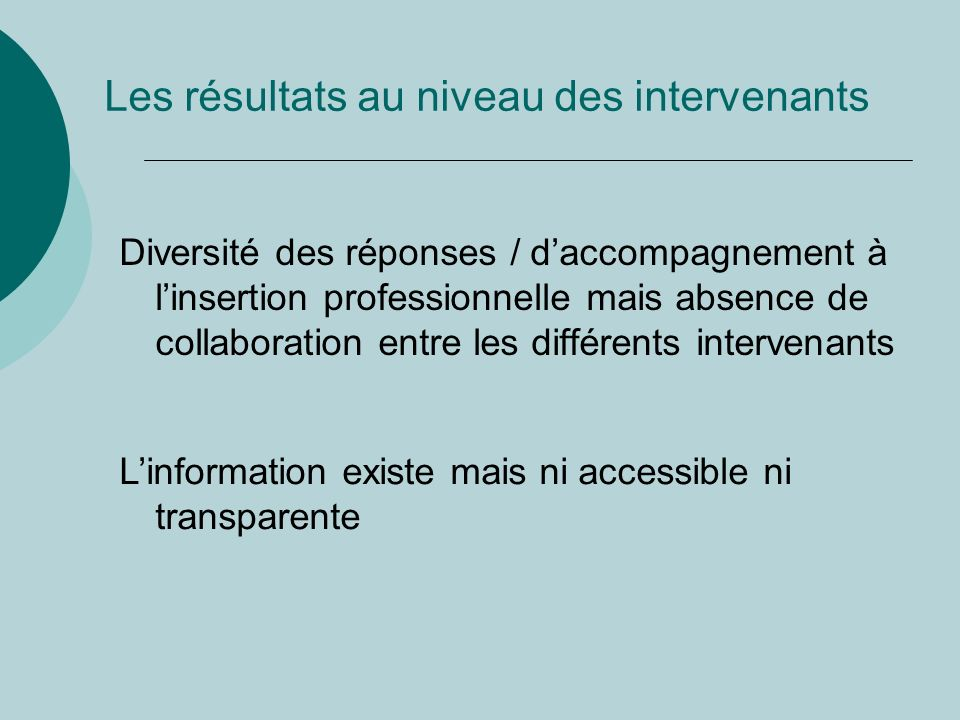 Les résultats au niveau des intervenants Diversité des réponses / daccompagnement à linsertion professionnelle mais absence de collaboration entre les différents intervenants Linformation existe mais ni accessible ni transparente