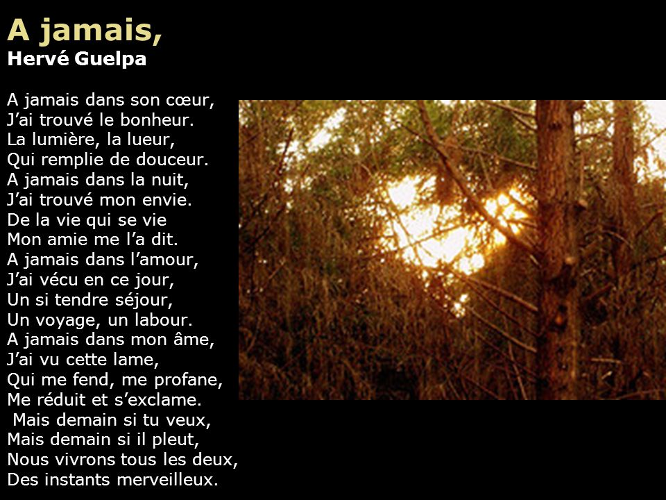 Conclusion Charles Cros J'ai rêvé les amours divins, L'ivresse des bars et des vins, L'or, l'argent, les royaumes vains, Moi, dix-huit ans, Elle, seiz