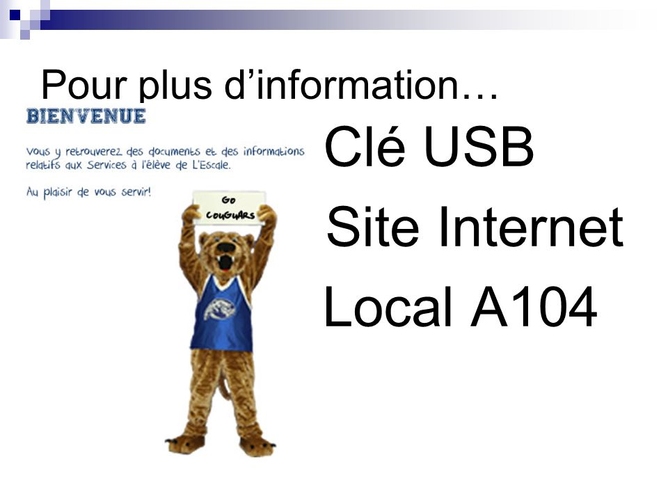 Pour plus dinformation… Clé USB Site Internet Local A104