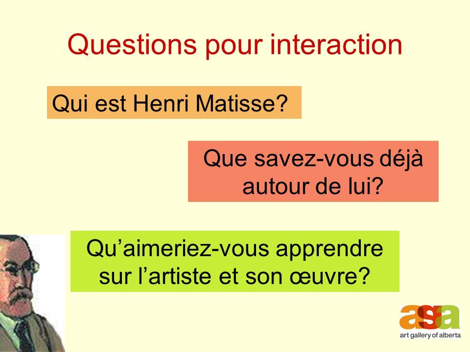 Questions pour interaction Qui est Henri Matisse.Que savez-vous déjà autour de lui.