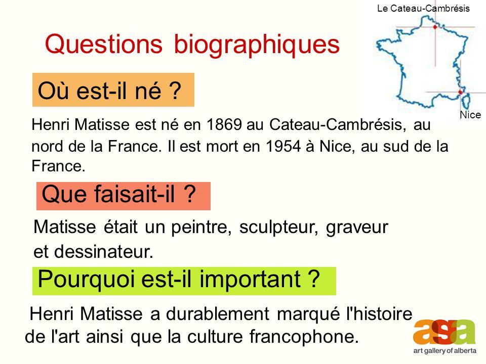 Henri Matisse est né en 1869 au Cateau-Cambrésis, au nord de la France.