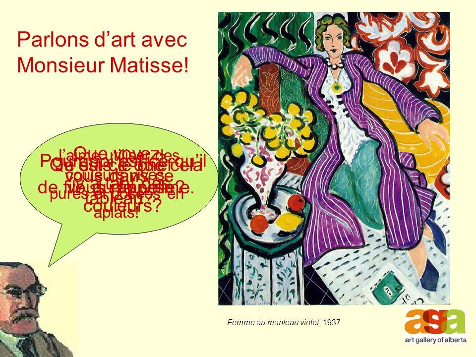 Parlons dart avec Monsieur Matisse.Que voyez- vous dans ce tableau.
