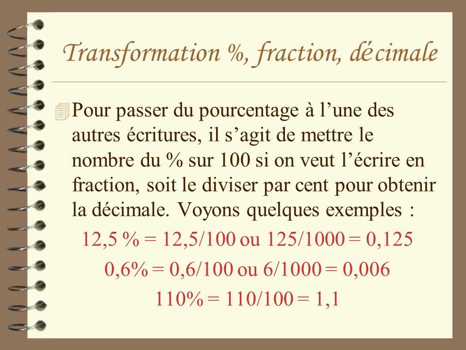 Transformation %, fraction, d é cimale 4 Pour passer du pourcentage à lune des autres écritures, il sagit de mettre le nombre du % sur 100 si on veut