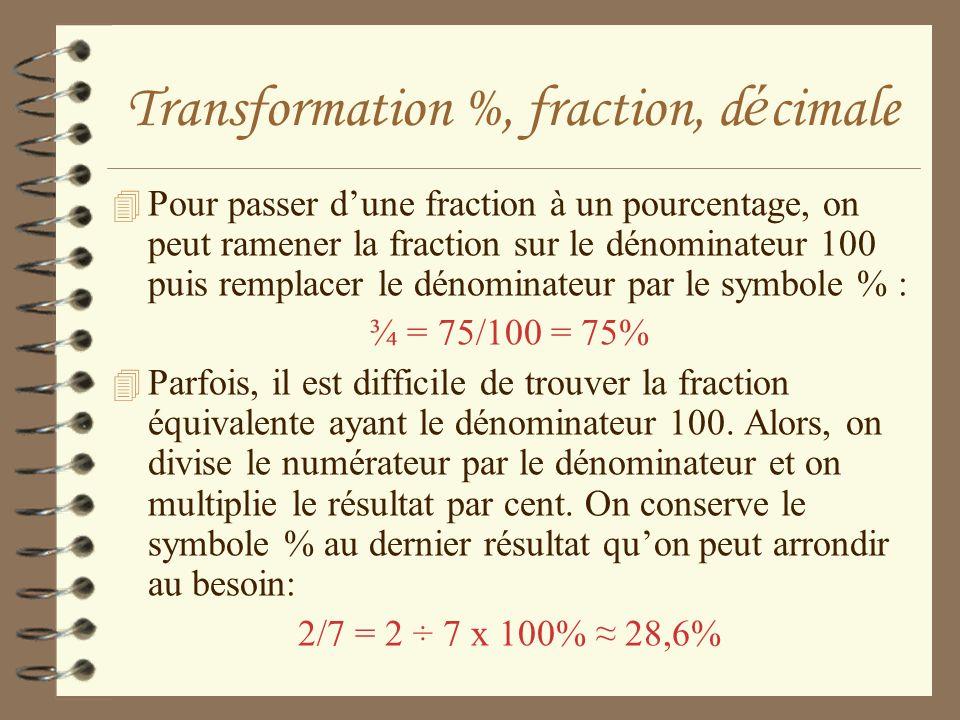 Transformation %, fraction, d é cimale 4 Pour passer dune fraction à un pourcentage, on peut ramener la fraction sur le dénominateur 100 puis remplace