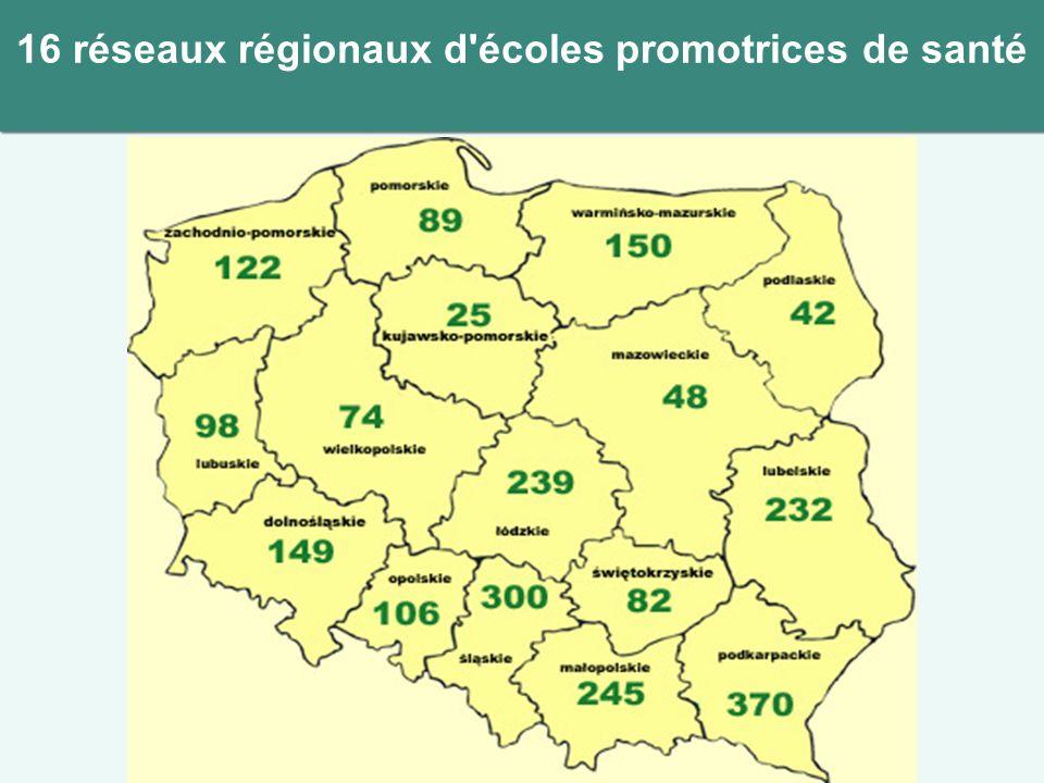 16 réseaux régionaux d'écoles promotrices de santé