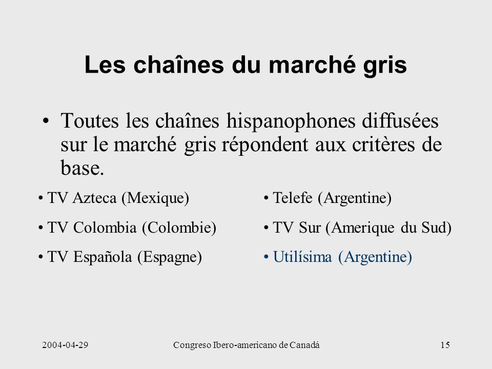 2004-04-29Congreso Ibero-americano de Canadá15 Les chaînes du marché gris Toutes les chaînes hispanophones diffusées sur le marché gris répondent aux