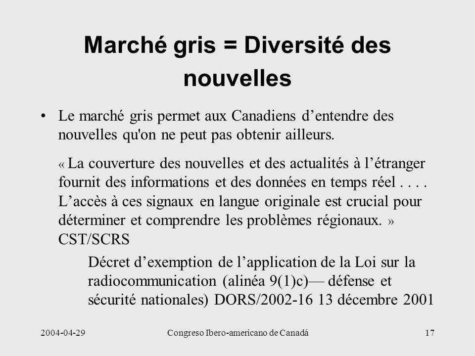 2004-04-29Congreso Ibero-americano de Canadá17 Marché gris = Diversité des nouvelles Le marché gris permet aux Canadiens dentendre des nouvelles qu'on