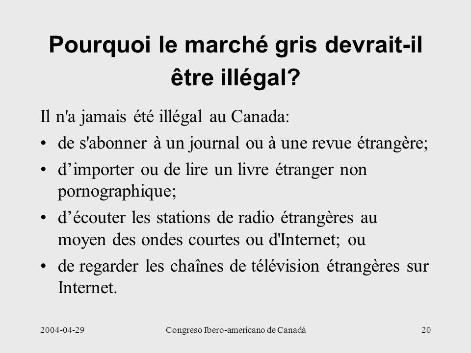 2004-04-29Congreso Ibero-americano de Canadá20 Pourquoi le marché gris devrait-il être illégal? Il n'a jamais été illégal au Canada: de s'abonner à un
