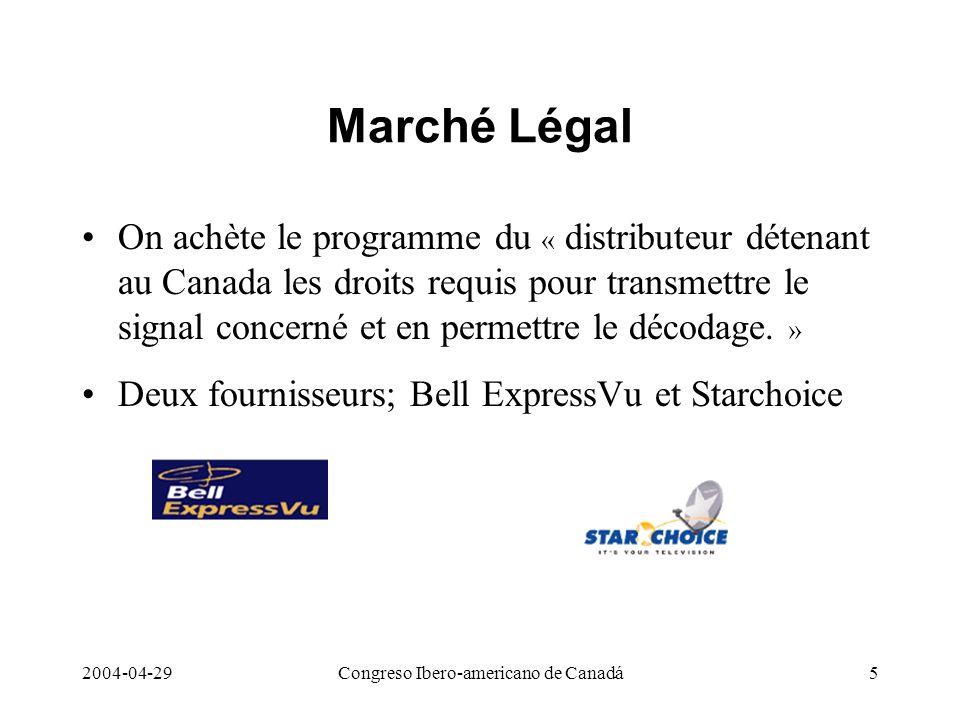 2004-04-29Congreso Ibero-americano de Canadá5 Marché Légal On achète le programme du « distributeur détenant au Canada les droits requis pour transmet