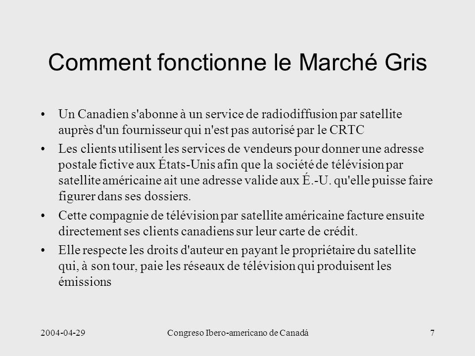 2004-04-29Congreso Ibero-americano de Canadá7 Comment fonctionne le Marché Gris Un Canadien s'abonne à un service de radiodiffusion par satellite aupr