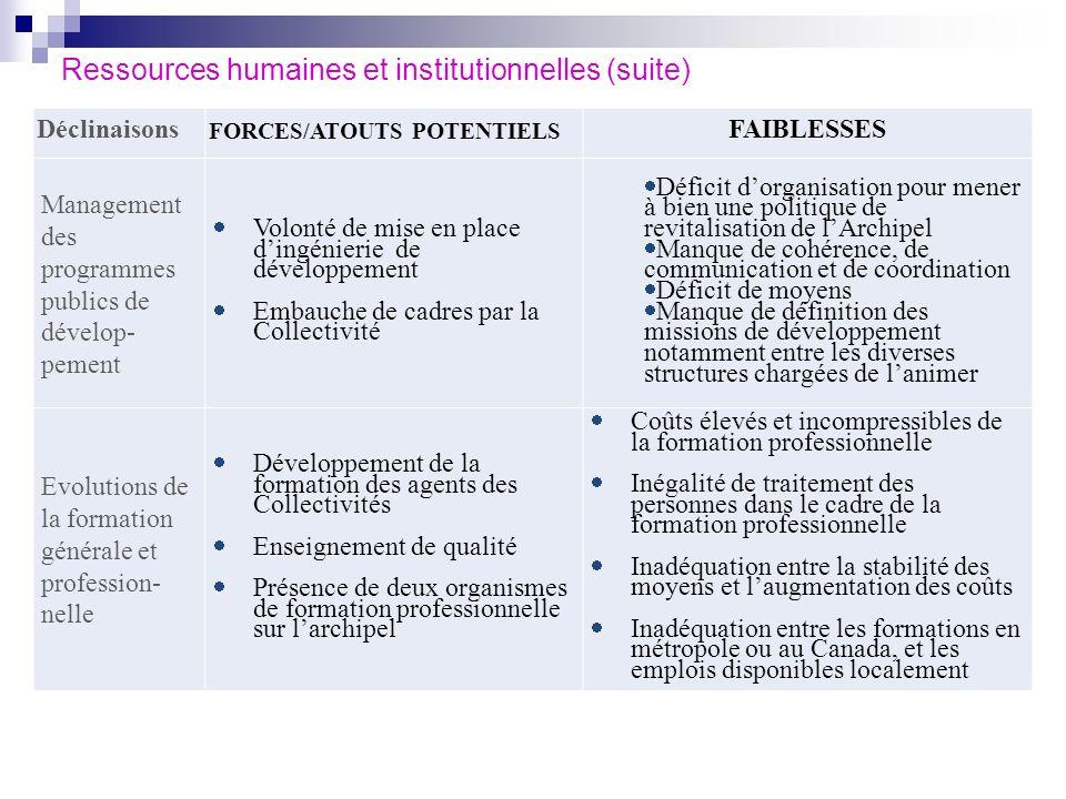 Ressources humaines et institutionnelles (suite) Déclinaisons FORCES/ATOUTS POTENTIELS FAIBLESSES Management des programmes publics de dévelop- pement
