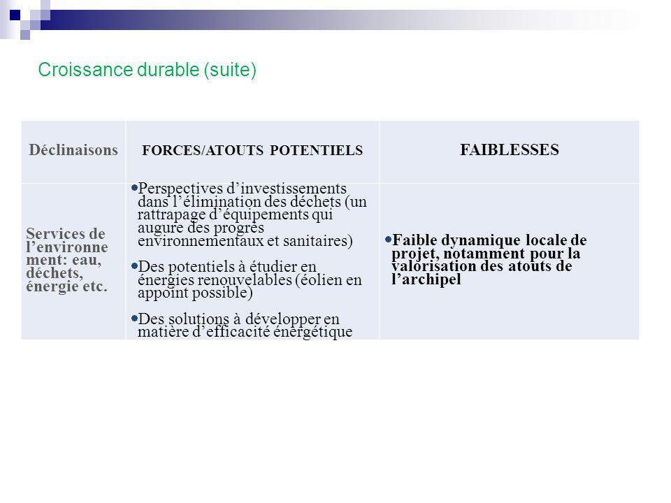 Croissance durable (suite) Déclinaisons FORCES/ATOUTS POTENTIELS FAIBLESSES Services de lenvironne ment: eau, déchets, énergie etc. Perspectives dinve