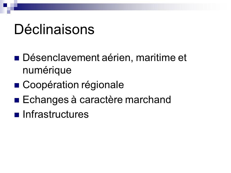 Déclinaisons Désenclavement aérien, maritime et numérique Coopération régionale Echanges à caractère marchand Infrastructures