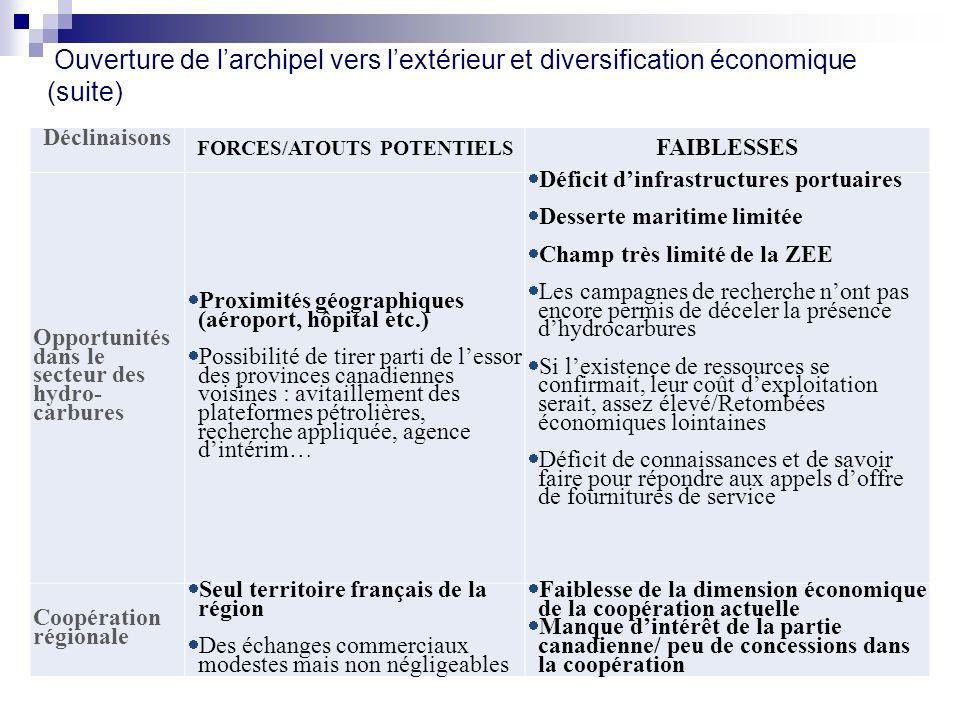 Déclinaisons FORCES/ATOUTS POTENTIELS FAIBLESSES Opportunités dans le secteur des hydro- carbures Proximités géographiques (aéroport, hôpital etc.) Po