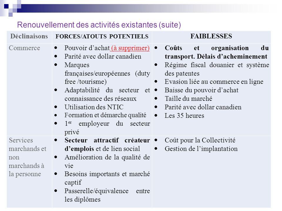 Renouvellement des activités existantes (suite) Déclinaisons FORCES/ATOUTS POTENTIELS FAIBLESSES Commerce Pouvoir dachat (à supprimer) Parité avec dol