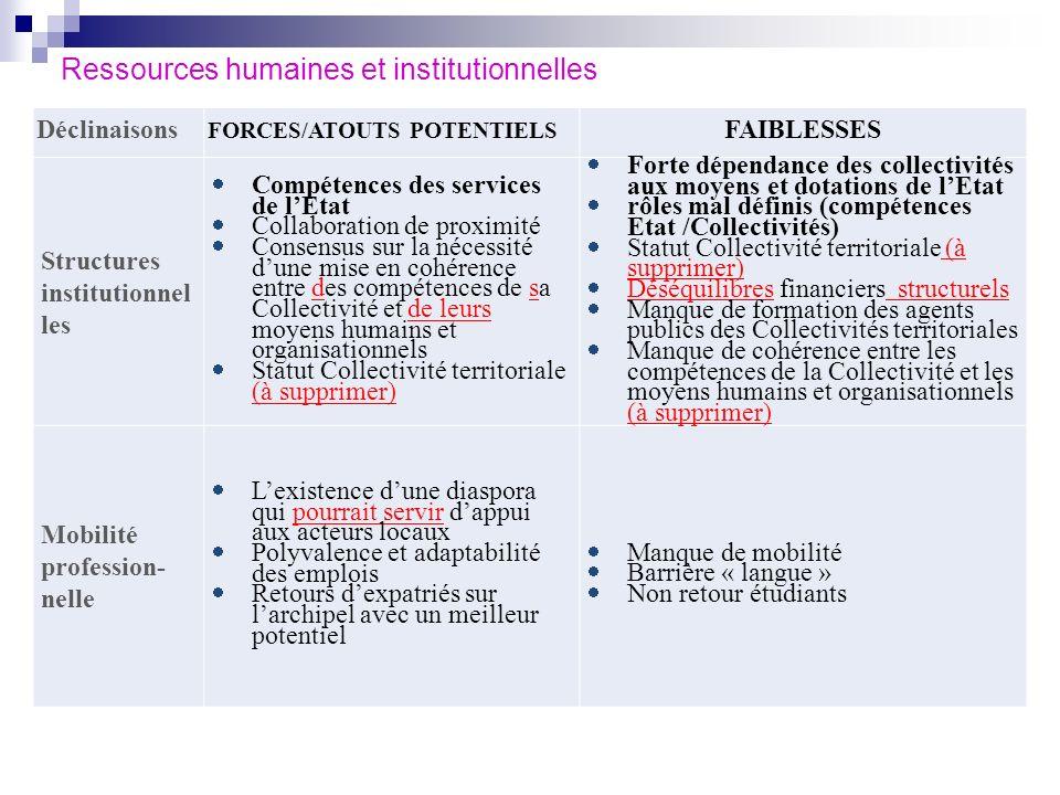 Ressources humaines et institutionnelles Déclinaisons FORCES/ATOUTS POTENTIELS FAIBLESSES Structures institutionnel les Compétences des services de lE