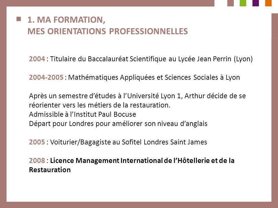 1. MA FORMATION, MES ORIENTATIONS PROFESSIONNELLES 2004 : Titulaire du Baccalauréat Scientifique au Lycée Jean Perrin (Lyon) 2004-2005 : Mathématiques