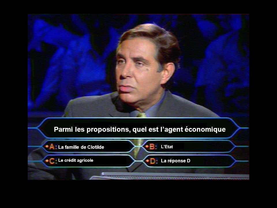 Parmi les propositions, quel est lagent économique La famille de Clotilde Le crédit agricole La réponse D LEtat