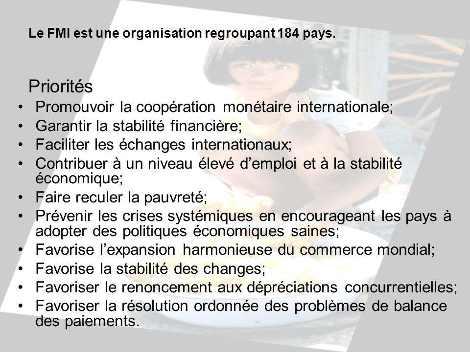 Le FMI est une organisation regroupant 184 pays. Priorités Promouvoir la coopération monétaire internationale; Garantir la stabilité financière; Facil