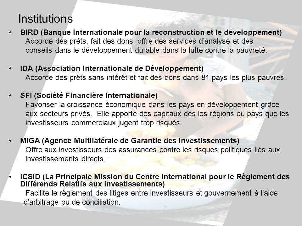 Institutions BIRD (Banque Internationale pour la reconstruction et le développement) Accorde des prêts, fait des dons, offre des services danalyse et