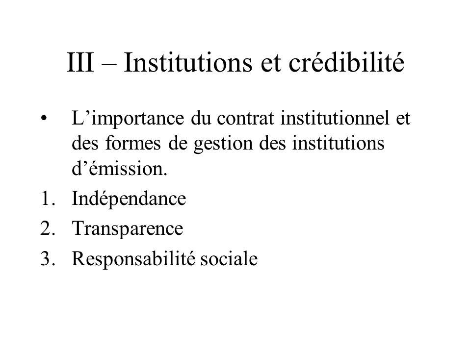 III – Institutions et crédibilité Limportance du contrat institutionnel et des formes de gestion des institutions démission. 1.Indépendance 2.Transpar