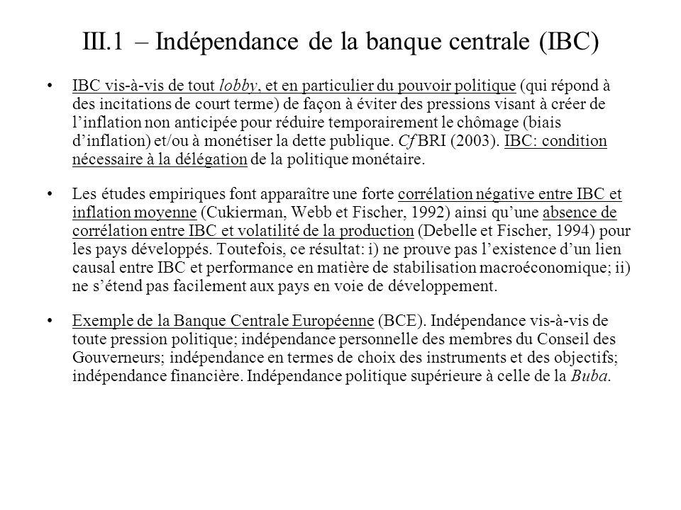 III.1 – Indépendance de la banque centrale (IBC) IBC vis-à-vis de tout lobby, et en particulier du pouvoir politique (qui répond à des incitations de