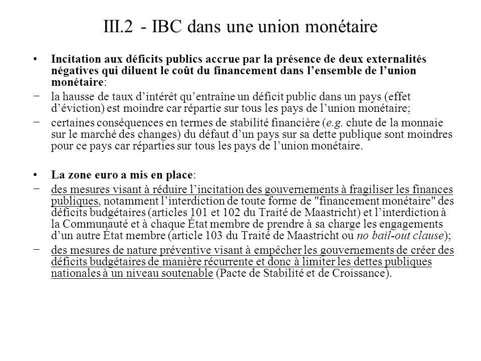 III.2 - IBC dans une union monétaire Incitation aux déficits publics accrue par la présence de deux externalités négatives qui diluent le coût du fina