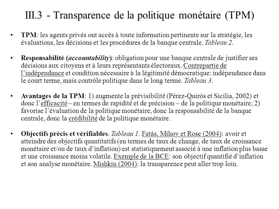III.3 - Transparence de la politique monétaire (TPM) TPM: les agents privés ont accès à toute information pertinente sur la stratégie, les évaluations