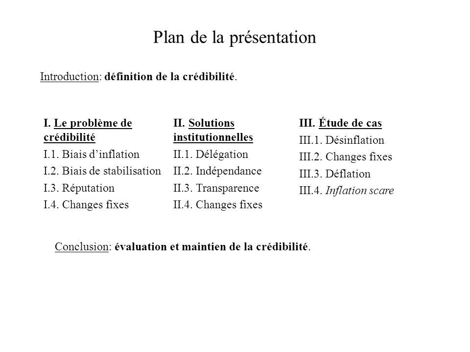 Plan de la présentation Introduction: définition de la crédibilité. I. Le problème de crédibilité I.1. Biais dinflation I.2. Biais de stabilisation I.