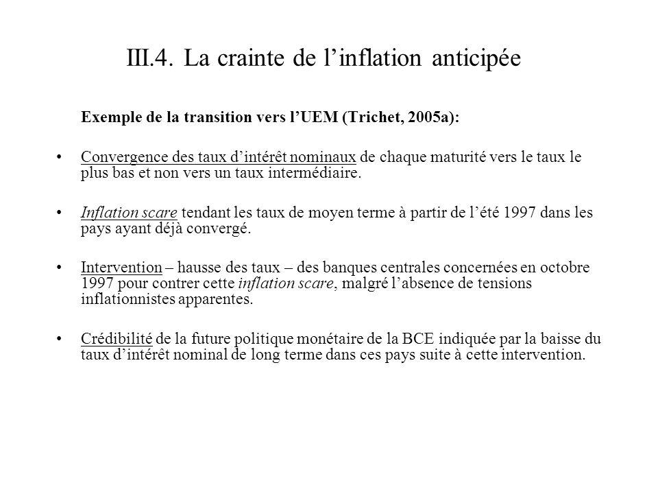 Exemple de la transition vers lUEM (Trichet, 2005a): Convergence des taux dintérêt nominaux de chaque maturité vers le taux le plus bas et non vers un