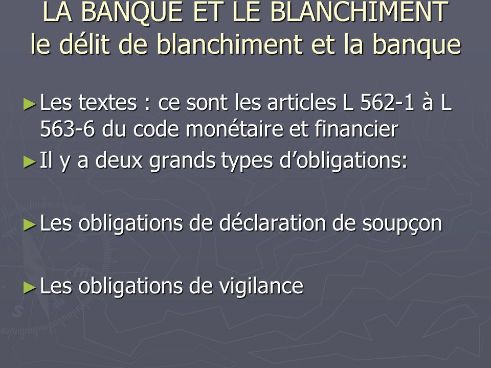 LA BANQUE ET LE BLANCHIMENT le délit de blanchiment et la banque Les textes : ce sont les articles L 562-1 à L 563-6 du code monétaire et financier Le