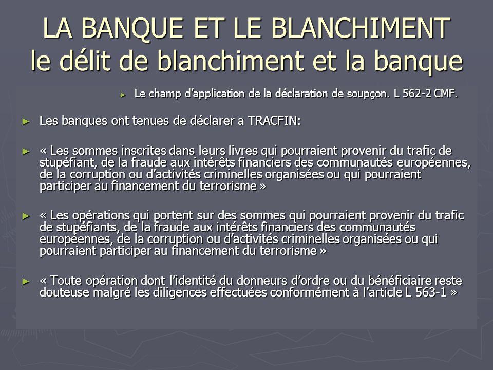LA BANQUE ET LE BLANCHIMENT le délit de blanchiment et la banque Le champ dapplication de la déclaration de soupçon. L 562-2 CMF. Le champ dapplicatio