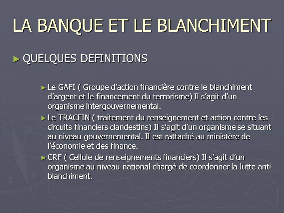 LA BANQUE ET LE BLANCHIMENT Le délit de blanchiment et la banque Quelle attitude adopter suite à une déclaration de soupçon.