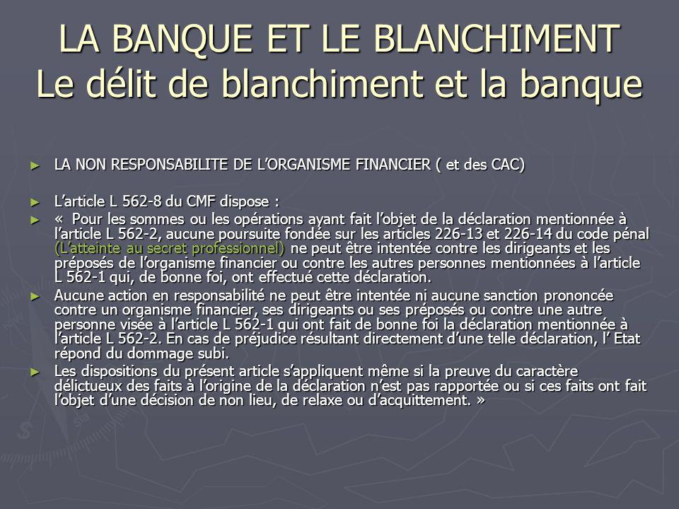 LA BANQUE ET LE BLANCHIMENT Le délit de blanchiment et la banque LA NON RESPONSABILITE DE LORGANISME FINANCIER ( et des CAC) LA NON RESPONSABILITE DE