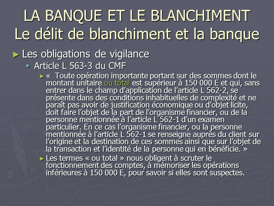 LA BANQUE ET LE BLANCHIMENT Le délit de blanchiment et la banque Les obligations de vigilance Les obligations de vigilance Article L 563-3 du CMF Arti