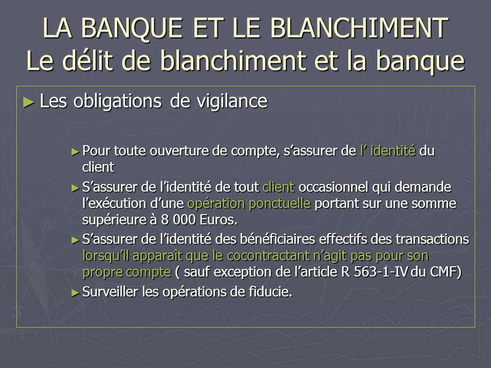 LA BANQUE ET LE BLANCHIMENT Le délit de blanchiment et la banque Les obligations de vigilance Les obligations de vigilance Pour toute ouverture de com
