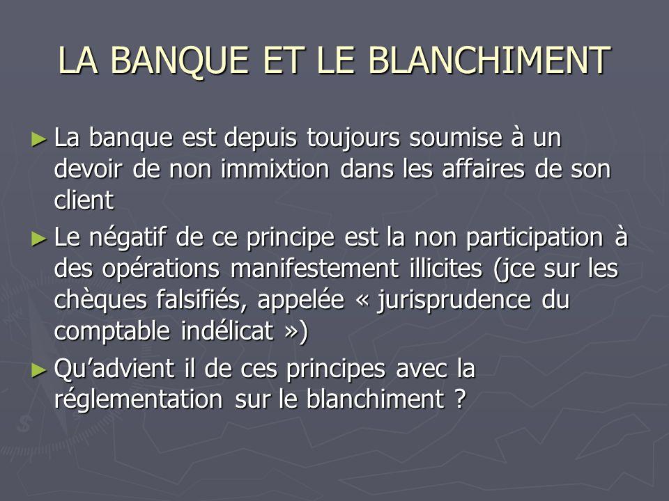 LA BANQUE ET LE BLANCHIMENT LEVOLUTION REGLEMENTAIRE LEVOLUTION REGLEMENTAIRE 1987 : Insertion de la réglementation dans le code de la santé publique 1987 : Insertion de la réglementation dans le code de la santé publique Loi du 12 Juillet 1990 Loi du 12 Juillet 1990 1991 Directive Européenne 1991 Directive Européenne 1996 Intégration dans le code pénal 1996 Intégration dans le code pénal 2001 Seconde directive Européenne 2001 Seconde directive Européenne 2004 : Loi du 11 février 2004 ( application aux CAC et experts comptables) 2004 : Loi du 11 février 2004 ( application aux CAC et experts comptables) 2005 Troisième directive Européenne 2005 Troisième directive Européenne 2007 Dernière directive Européenne 2007 Dernière directive Européenne CONCLUSION : LA MATIERE DEPASSE LES CLIVAGES POLITIQUES CONCLUSION : LA MATIERE DEPASSE LES CLIVAGES POLITIQUES