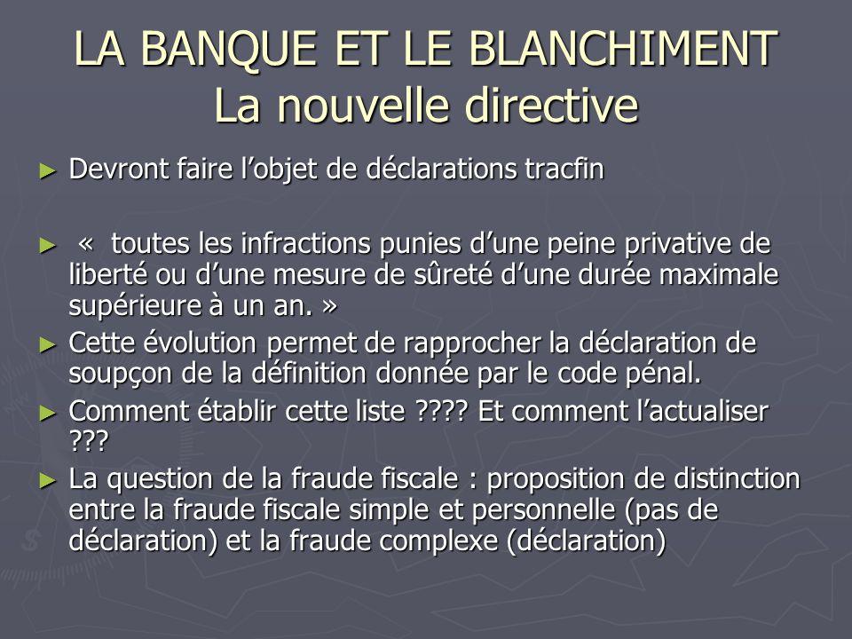 LA BANQUE ET LE BLANCHIMENT La nouvelle directive Devront faire lobjet de déclarations tracfin Devront faire lobjet de déclarations tracfin « toutes l