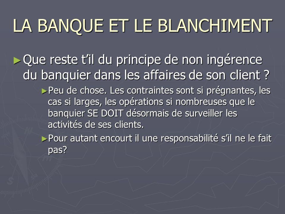 LA BANQUE ET LE BLANCHIMENT Que reste til du principe de non ingérence du banquier dans les affaires de son client ? Que reste til du principe de non