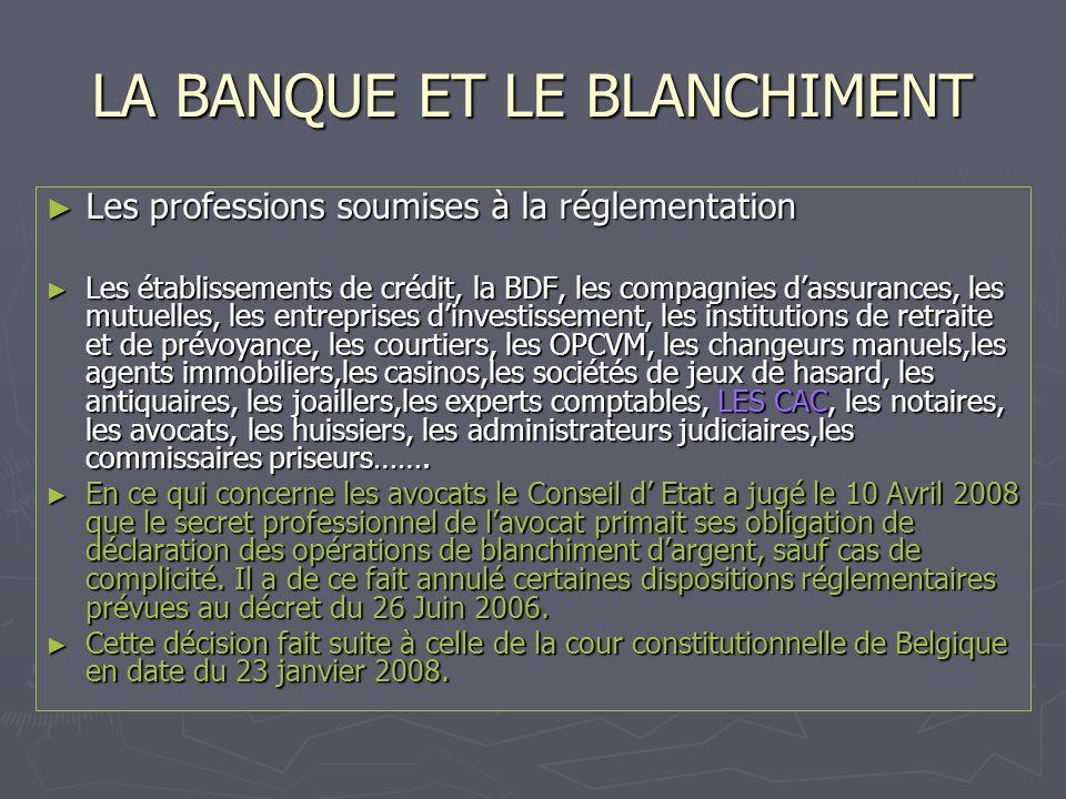 LA BANQUE ET LE BLANCHIMENT Les professions soumises à la réglementation Les professions soumises à la réglementation Les établissements de crédit, la