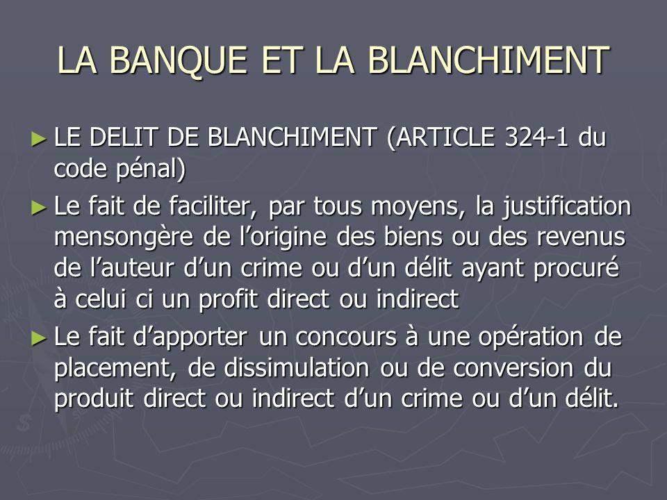LA BANQUE ET LE BLANCHIMENT La banque encourt une responsabilité disciplinaire (6 sanctions disciplinaires en 2006) Article 39 de la directive « Les états membres veillent à ce que les personnes physiques et morales soumises à la présente directive puissent être tenues pour responsables des violations des dispositions nationales adoptées conformément à la présente directive.
