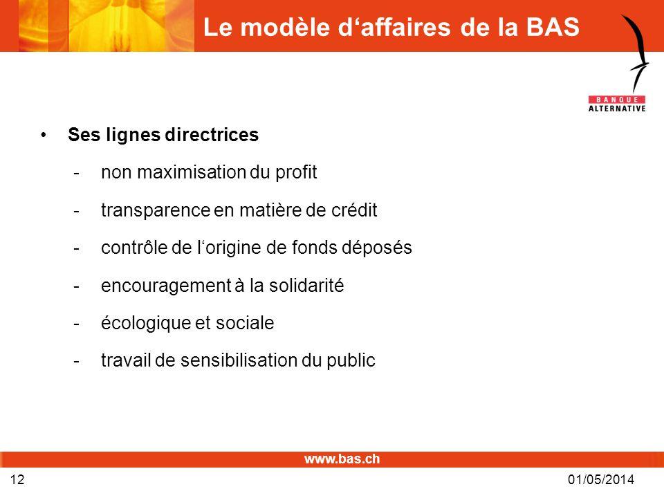 www.bas.ch Le modèle daffaires de la BAS Ses lignes directrices -non maximisation du profit -transparence en matière de crédit -contrôle de lorigine d