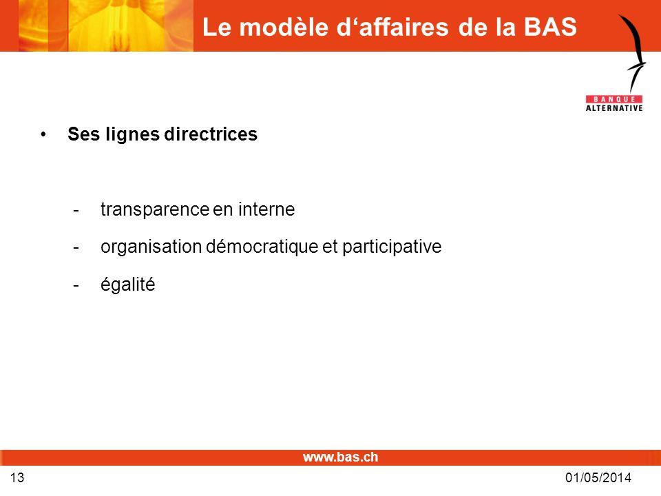 www.bas.ch Le modèle daffaires de la BAS Ses lignes directrices -transparence en interne -organisation démocratique et participative -égalité 01/05/20