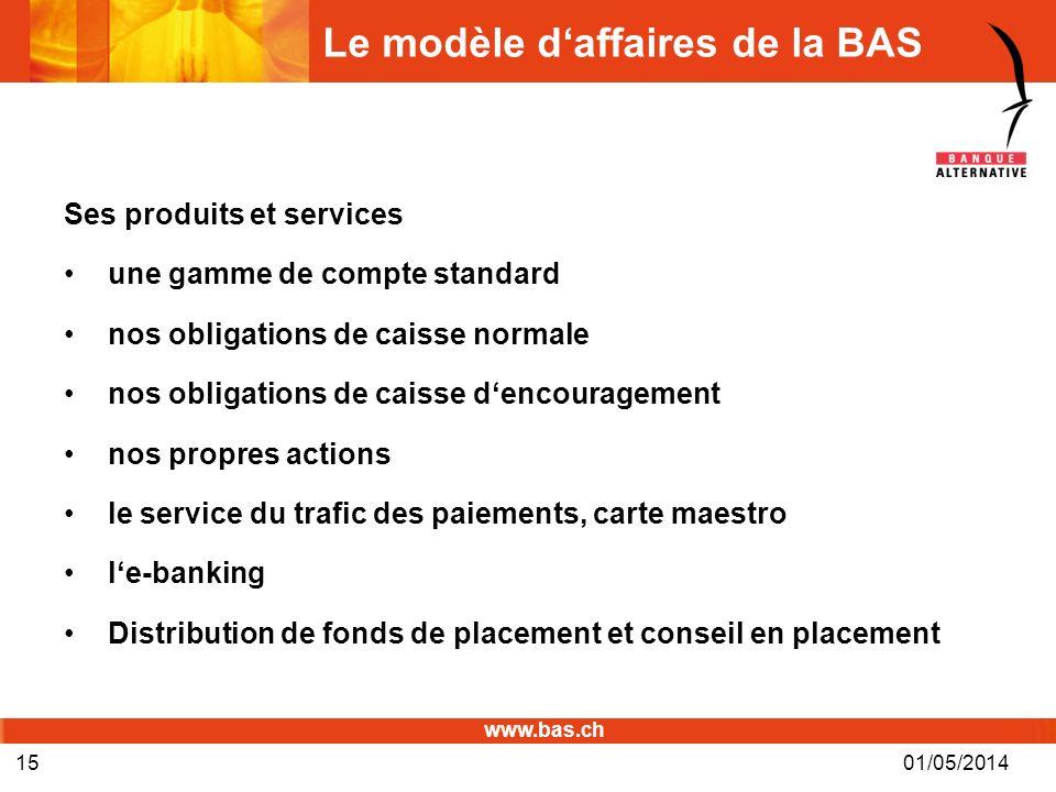 www.bas.ch 01/05/201415 Le modèle daffaires de la BAS Ses produits et services une gamme de compte standard nos obligations de caisse normale nos obli