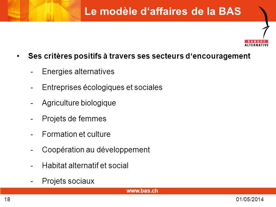 www.bas.ch Le modèle daffaires de la BAS Ses critères positifs à travers ses secteurs dencouragement -Energies alternatives -Entreprises écologiques e