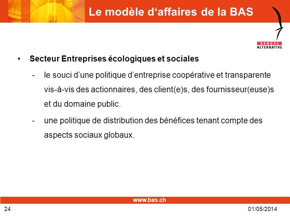 www.bas.ch Le modèle daffaires de la BAS Secteur Entreprises écologiques et sociales -le souci dune politique dentreprise coopérative et transparente