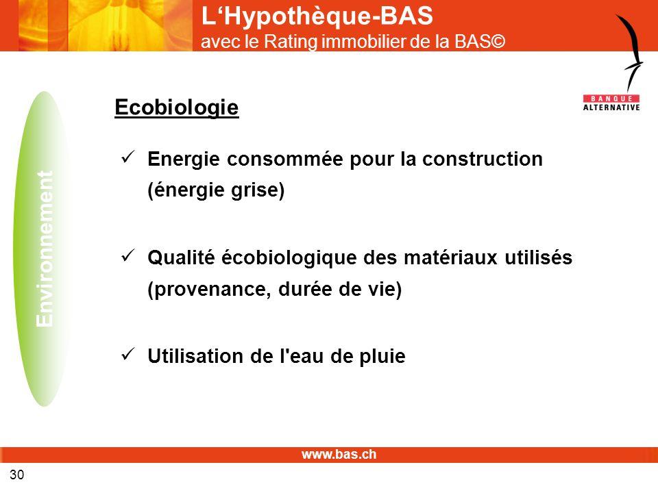www.bas.ch 30 LHypothèque-BAS avec le Rating immobilier de la BAS© Ecobiologie Energie consommée pour la construction (énergie grise) Qualité écobiolo