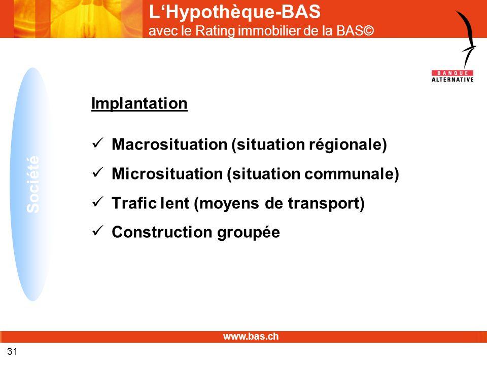 www.bas.ch 31 LHypothèque-BAS avec le Rating immobilier de la BAS© Implantation Macrosituation (situation régionale) Microsituation (situation communa